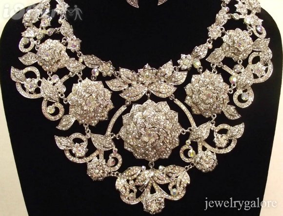 Clear AB Swarovski Crystal STATEMENT Pageant Necklace Set