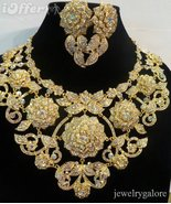 Gold clear ab swarovski crystal pageant necklace set 4a77 thumbtall