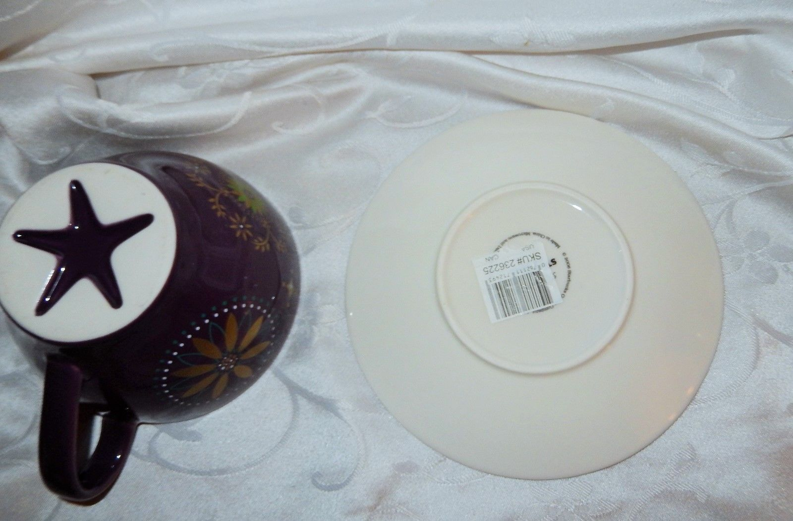 Starbucks Purple & Gold Star Oversized Cup & Saucer 2006 Now Retired New