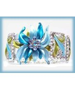 Blue Floral Flames Crystal  Bangle Panel Bracelet Beautiful  - $24.99