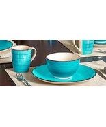 ROYAL NORFOLK DINNERWARE 3-pc Set Turquoise Swirl Stoneware Plate Bowl M... - $33.99