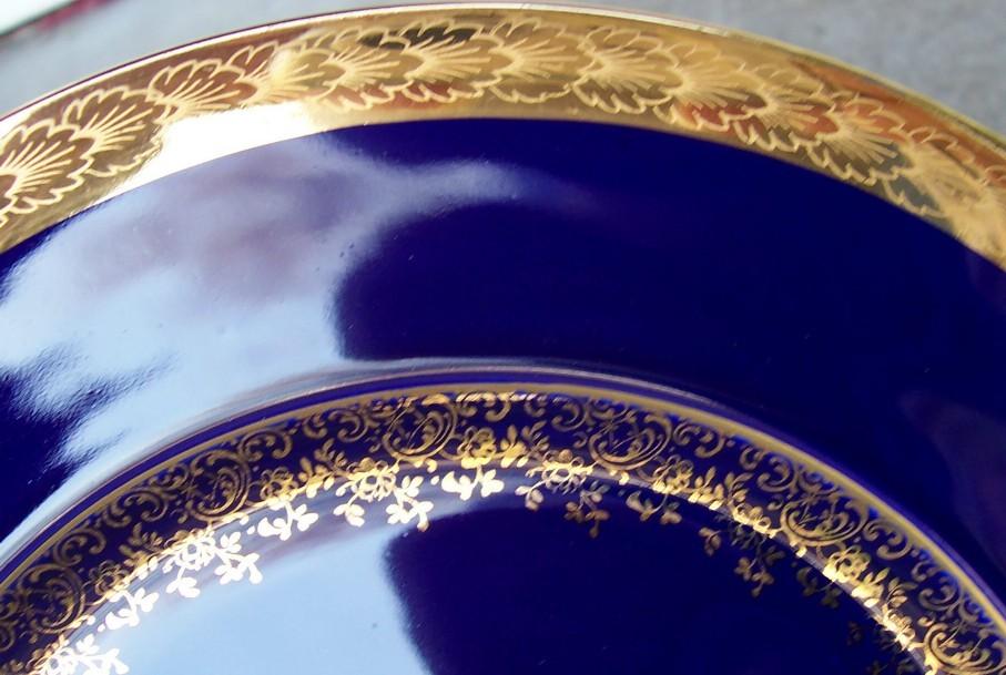 Limoges Castle France Plate Gold Gilding /w Couple