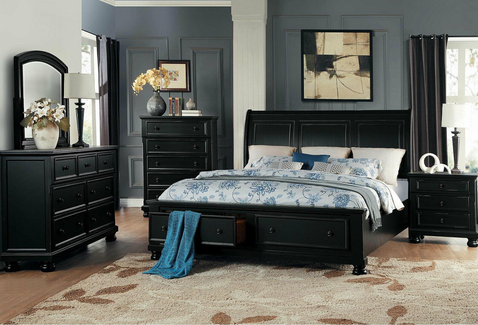 JANE 5 Pieces Transitional Cottage Black Bedroom Suite W