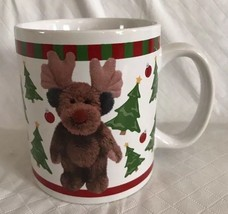 Boyds Collection Bearware Pottery Works 2004 Holiday Mug Cup Reindeer Bear Trees - $11.99
