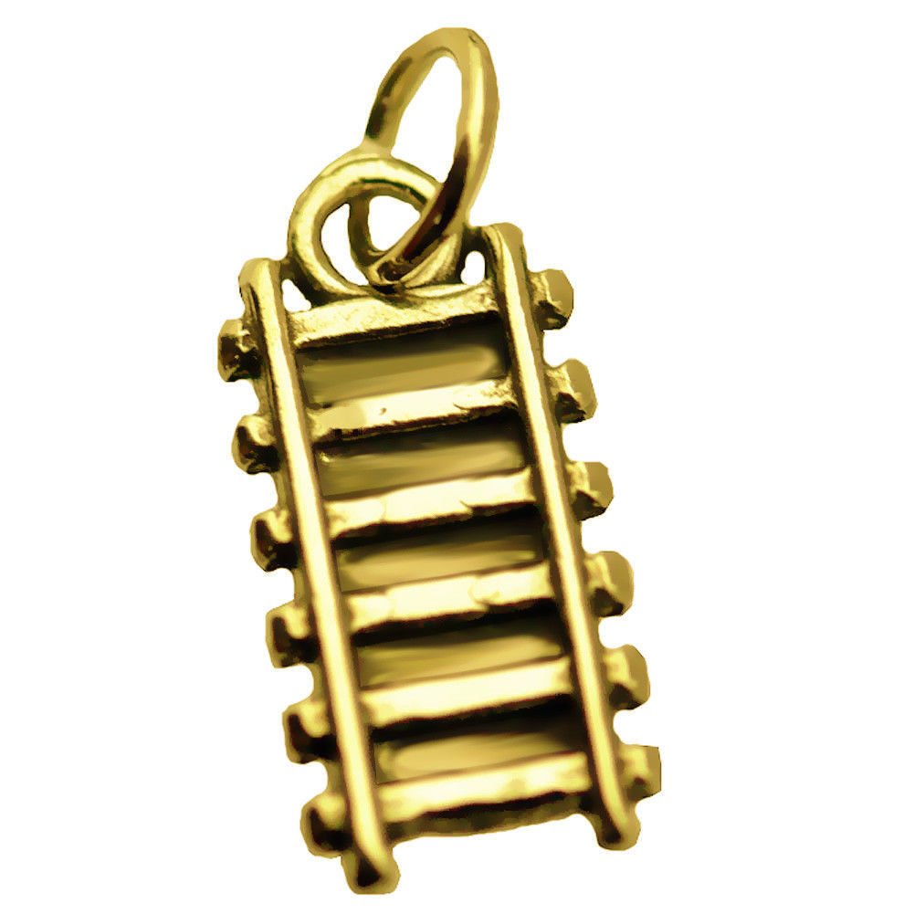 Train railway railroad Track charm Authentic Genuine 24K Yellow Gold PTD Jewelry
