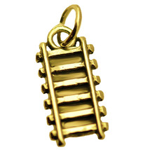 Train railway railroad Track charm Authentic Genuine 24K Yellow Gold PTD... - $11.38