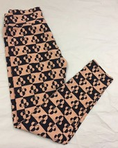 Lularoe OS Leggings Disney Peach Orange Black Minnie Mouse One Size **Un... - $12.08