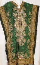 Caftan Dress Green Gold Dashiki Print Plus Size 1X to 2X Free Shipping - $18.69