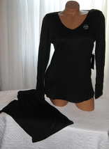 Black Pajama Set Stretch Harve Benard S L Long Sleeves Long Pants - $28.99