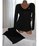 Black Pajama Set Stretch Harve Benard S L Long Sleeves Long Pants - $28.99