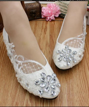Ladies Ivory White Crystals Lace Wedding Ballet Flats Shoes US 4,5,6,7,8,9,10,11 - $38.00