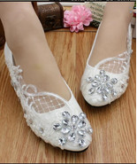 Ladies Ivory White Crystals Lace Wedding Ballet Flats Shoes US 4,5,6,7,8... - £30.95 GBP