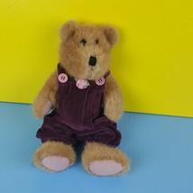 "Boyds Bears Claire Teddy Bear 11"" Plush Maroon Coveralls Overalls Rose #A39 - $14.84"