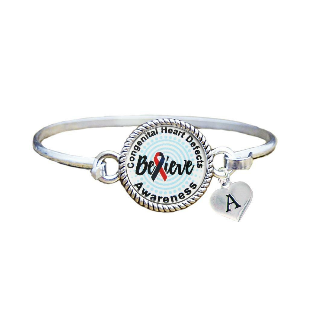 Primary image for Custom Congenital Heart Defects Awareness Believe Silver Bracelet Jewelry