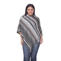 Plus Size Mesila Fringe Poncho - Grey - $29.99