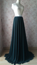 Dark Green Plus Size Maxi Chiffon Skirt Dark Green Bridesmaid Maxi Chiffon Skirt image 10