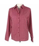 Chicos 3 Shirt Blouse Red White Chevron No Iron XL Button Long Sl Career... - $19.34
