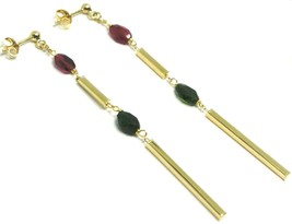 18K YELLOW GOLD PENDANT EARRINGS, FACETED OVAL PURPLE GREEN TOURMALINE, TUBES image 2