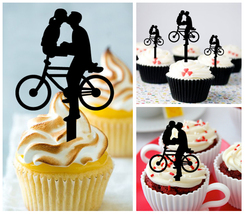 Wedding,Birthday Cupcake topper,silhouette bicycle kissing couple Package 10 pcs - $10.00