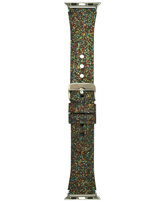 I.N.C. Women's Black Rainbow Glitter Silicone 42mm Apple Watch Band Strap
