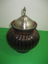 Vintage Amber Round Vertical Ribbed Canister with Silver Metal Lid - $11.83