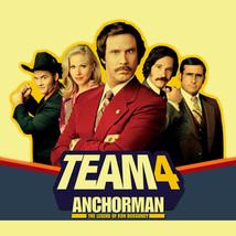 Anchorman Team 4 T-shirt Ron Burgundy movie 100% cotton graphic  tee image 2