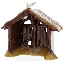 Hagen-Renaker Specialties Ceramic Nativity Figurine Manger with Dove image 1