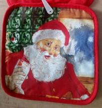SET of 2 RARE Printed Kitchen Pot Holders, CHRISTMAS SANTA # 3, red back - $7.69