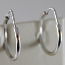 18K WHITE GOLD EARRINGS LITTLE CIRCLE HOOP 18 MM 0.71 IN DIAMETER MADE IN ITALY image 1