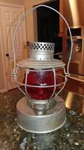 Antique Handlan St Louis Railroad Contractors Lantern Globe Red VTG Coll... - $69.69