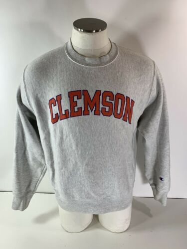 Vintage Champion Reverse Weave Clemson Tigers Crewneck Sweatshirt Heather Gray M image 1