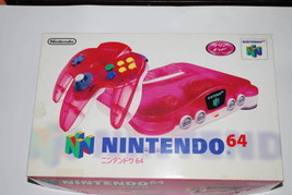 NINTENDO 64 Game console set  Clear red ver. TV game Controller Japan  D47 - $437.19