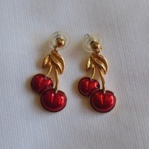 Vintage Avon Gold Tone Red Enamel Cherry Pierced Earrings - $21.77