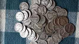 1 ROLL 1929 90% SILVER MERCURY DIMES - $5 FACE VALUE - 50 COINS - $129.99