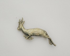 Antique/vintage brooch scatter pin signed Simba leaping gazelle impala a... - $23.75