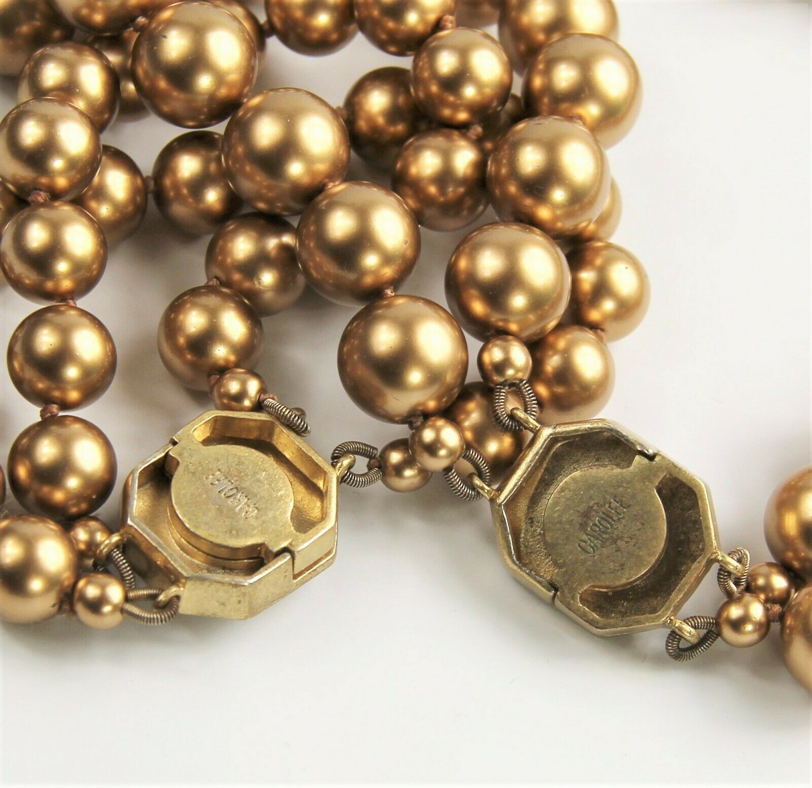 CAROLEE HAND KNOTTED BRONZE GLASS PEARL NECKLACE BRACELET SET RHINESTONE CLASPS