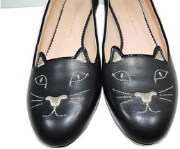 Charlotte Olympia Blck Leather Kitty Smoking Slipper Flats Shoe Ballets 40-9 Cat image 2