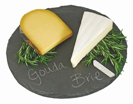 Cheese Board Cutting, Food-safe Circle Slate Rustic Serving Elegant Chee... - $32.99