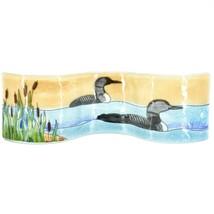 Fused Art Glass Loon Bird on Water w Cattails Wavy Sun Catcher Handmade Ecuador