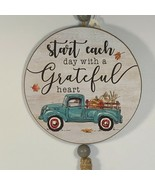 Start Each Day Grateful Heart Fall Wall Decor Turquoise Blue Old Truck P... - $11.87