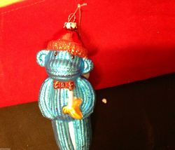 Glass ornament  sock monkey in choice of blue teal or red department 56 new image 4
