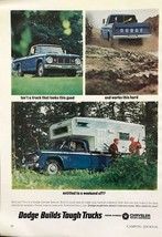 1966 Dodge Trucks Ad Good Looking Hard Working Weekend Camper Hunters - $11.01
