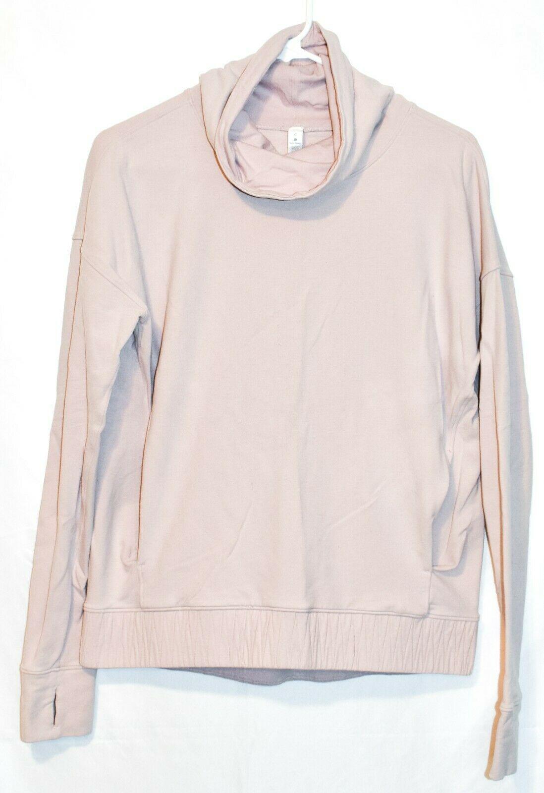 Lululemon Women's Porcelain Pink Stress Less Pullover Cowl Neck Turtleneck 6