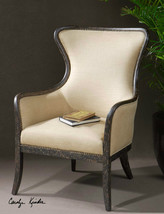 NEW AGED BLACK MAHOGANY FINISH ACCENT CLUB CHAIR TAILORED CUSHION BRASS ... - $877.80