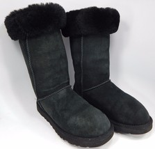 UGG Classic Tall Sheepskin Boots Size 7 M (B) EU 38 Black Model # 5815