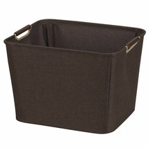 Multi Purpose Storage Basket Tapered Bin Wood Handles Coffee Breathable ... - $30.89