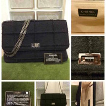 Auth Chanel Shoulder Bag Black Felt Matelasse Chocolate Bar Inner Pockets B5322 - $968.22