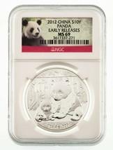 2012 China Plateado 10 Yuan Panda Graduado por NGC como MS69 Temprano Re... - $44.47