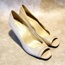Bandolino Womens Shoebook Sz 9 M Nude Tan Slip On Peep Toe Pumps - $29.99