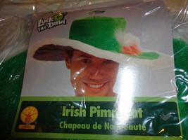 IRISH PIMP HAT LUCK O THE IRISH VELVETY, FUZZY WITH WIRE TO ADJUST ADULT... - $8.48